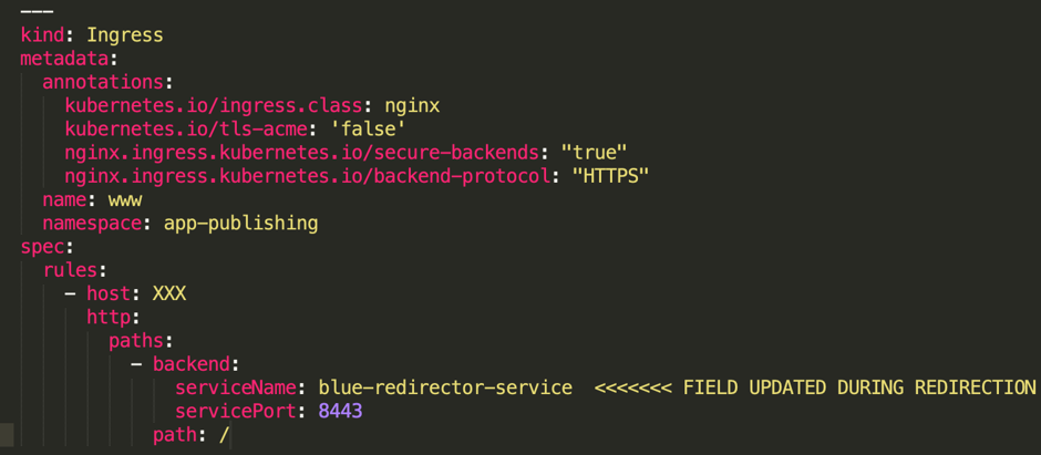 /></figure>    <p>Updating the Ingress resource to point at a new service means the Ingress controller would need to perform a reload of the Nginx configuration, which incurred on average<strong>one</strong><strong>second</strong>of dropped connection, resulting in a 500 error (this and other causes of reloads can be found<a href=